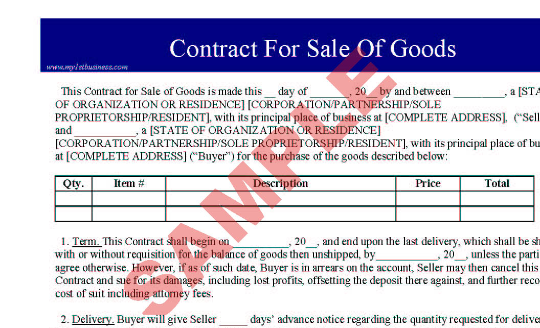 Contract for sale of goods preview for Sale of goods agreement template